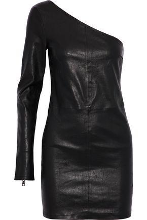 RTA One-shoulder stretch-leather mini dress