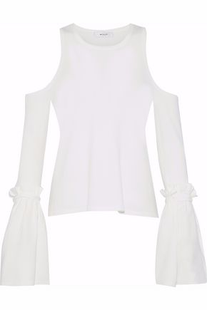 MILLY Cold-shoulder bow-detailed stretch-knit top