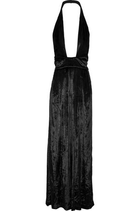 MILLY Crushed-velvet halterneck jumpsuit