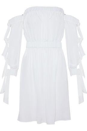 MILLY Off-the-shoulder cutout silk-blend mini dress