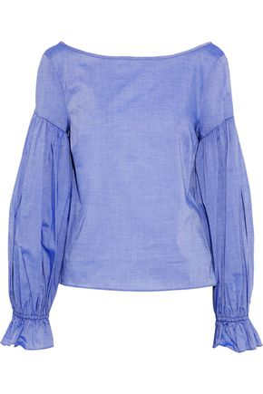 MILLY Linda cotton-chambray blouse