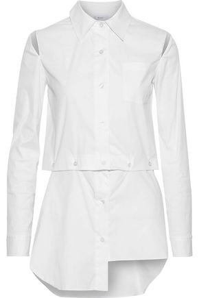 MILLY Fractured convertible cutout silk-blend poplin shirt
