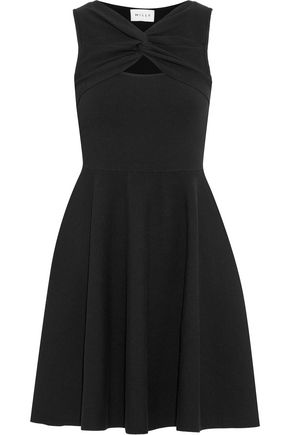 MILLY Twist-front cutout stretch-knit mini dress