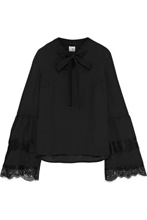 IRIS & INK Terri pussy-bow lace-trimmed crepe de chine blouse