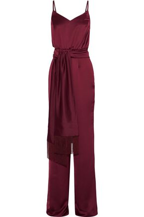 IRIS & INK Hazel belted satin jumpsuit