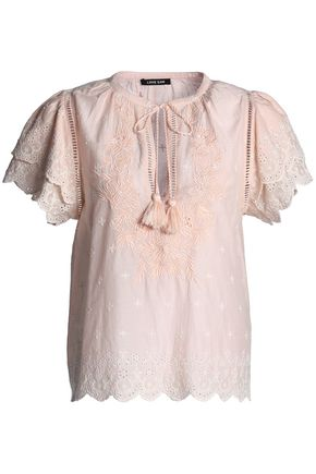 LOVE SAM Tasseled broderie anglaise cotton top
