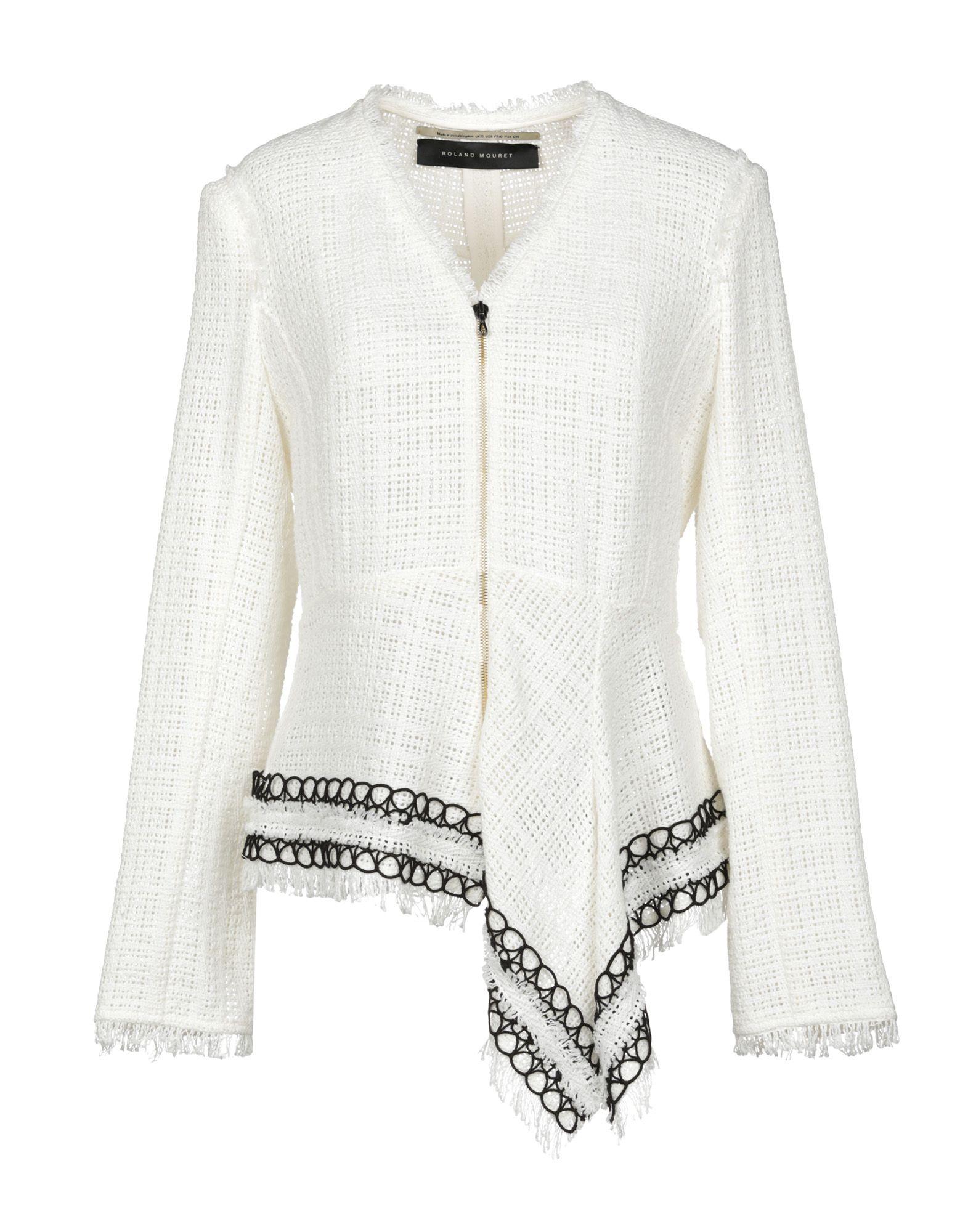 《セール開催中》ROLAND MOURET レディース テーラードジャケット ホワイト 6 コットン 100%