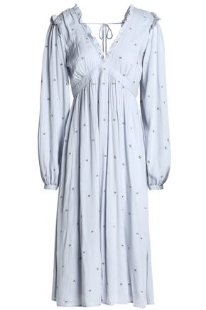 LOVE SAM Beckman tie-back embroidered voile dress