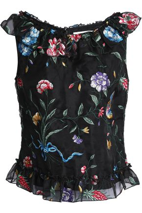 GOAT Ruffle-trimmed embroidered silk-organza top