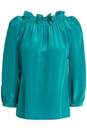GOAT Ruffle-trimmed gathered silk-satin blouse