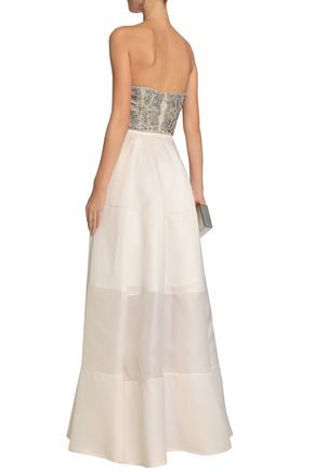 RACHEL GILBERT Strapless cropped embellished organza top