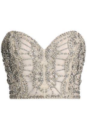 RACHEL GILBERT Strapless cropped embellished organza top