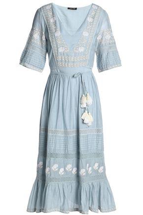 LOVE SAM Tasseled embroidered cotton-blend midi dress