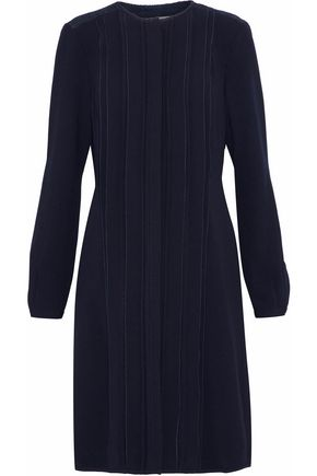 MIKAEL AGHAL Lace-paneled pintucked crepe dress