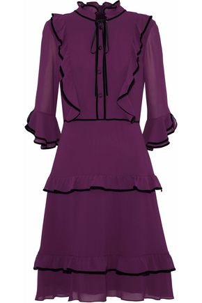 MIKAEL AGHAL Velvet-trimmed ruffled chiffon dress