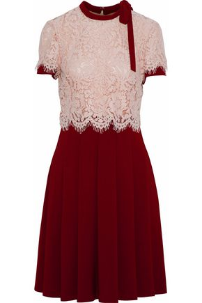 MIKAEL AGHAL Corded lace-paneled pleated crepe dress