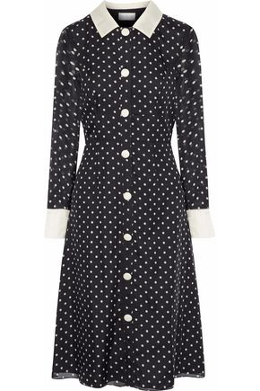 MIKAEL AGHAL Satin-trimmed polka-dot silk-chiffon dress