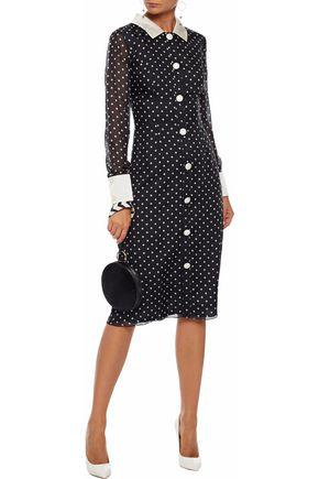 MIKAEL AGHAL Satin-trimmed polka-dot silk-chiffon dress