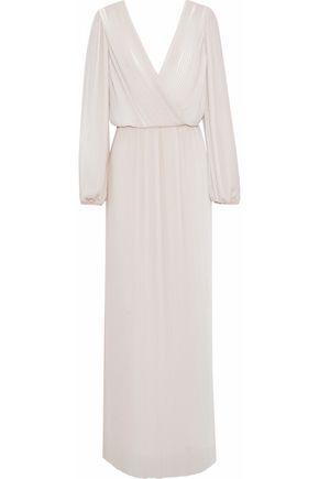 RACHEL GILBERT Naya wrap-effect plissé chiffon gown