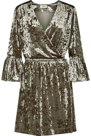 L'AGENCE Riley crushed-velvet mini wrap dress