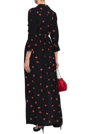 L'AGENCE Cameron printed silk maxi shirt dress
