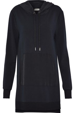 L'AGENCE Crepe-paneled stretch-modal hooded mini dress