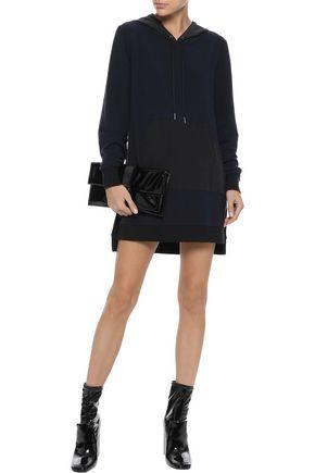 L'AGENCE Crepe-paneled stretch-modal hooded mini dress