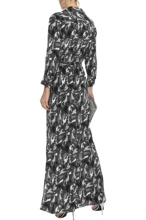 L'AGENCE Cameron belted printed washed-silk maxi shirt dress