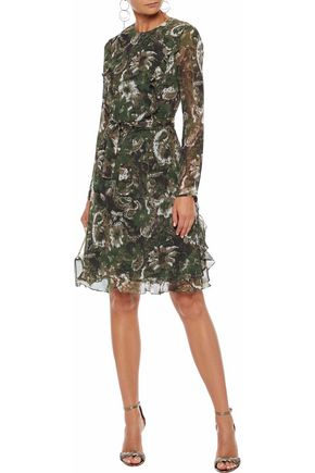 MIKAEL AGHAL Ruffle-trimmed printed chiffon dress