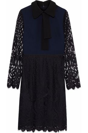 MIKAEL AGHAL Paneled crepe and lace dress