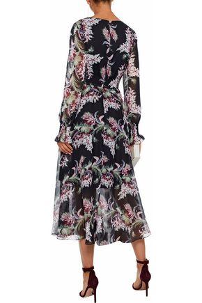 MIKAEL AGHAL Shirred floral-print chiffon midi dress