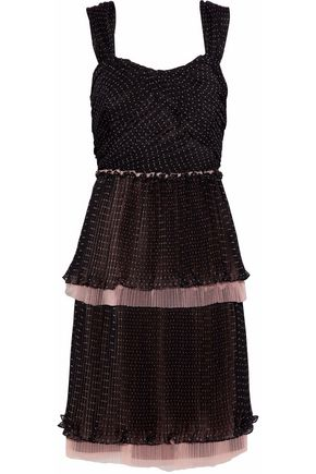 MIKAEL AGHAL Tiered tulle-trimmed polka-dot chiffon dress