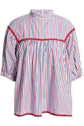 STELLA JEAN Grosgrain-trimmed striped poplin top