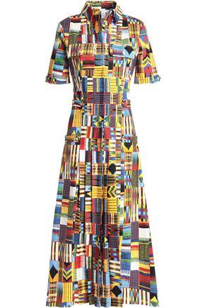 STELLA JEAN Pleated printed cotton-blend midi dress