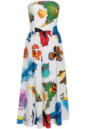 STELLA JEAN Strapless gathered printed cotton-poplin midi dress