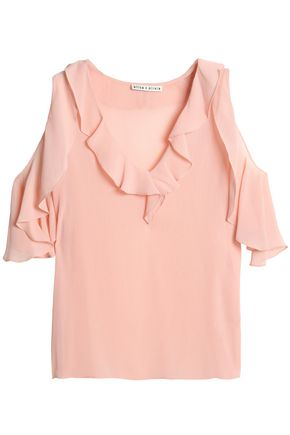 ALICE + OLIVIA Cold-shoulder ruffle-trimmed georgette blouse