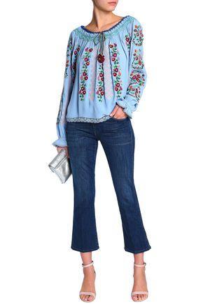 NEEDLE & THREAD Embroidered crepe tunic