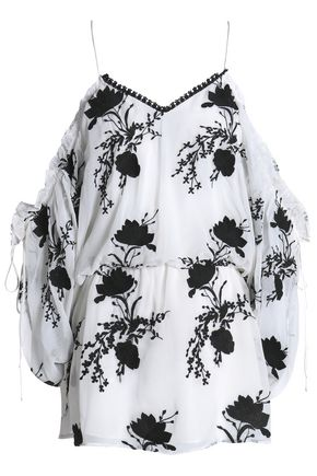 ALICE + OLIVIA Cold-shoulder gathered embroidered gauze tunic