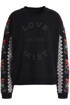 NEEDLE & THREAD Embroidered cotton-blend sweatshirt