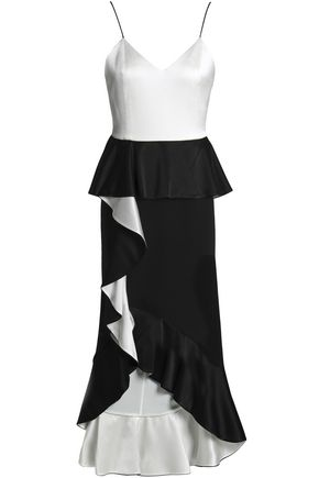 ALICE + OLIVIA Ruffled two-tone satin-crepe peplum midi dress