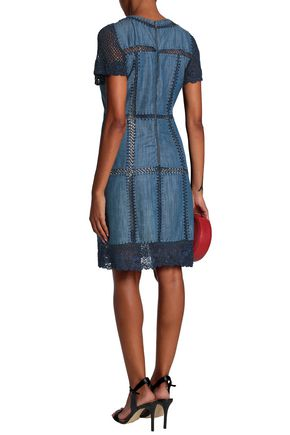 ALICE + OLIVIA Crochet-trimmed cotton-blend chambray dress