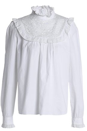 NEEDLE & THREAD Ruffle-trimmed embroidered cotton blouse