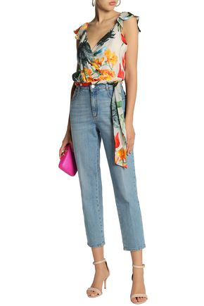 ALICE + OLIVIA Ruffled floral-print fil coupé chiffon wrap top