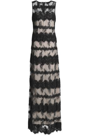 ALICE + OLIVIA Pailey embellished corded lace and tulle gown