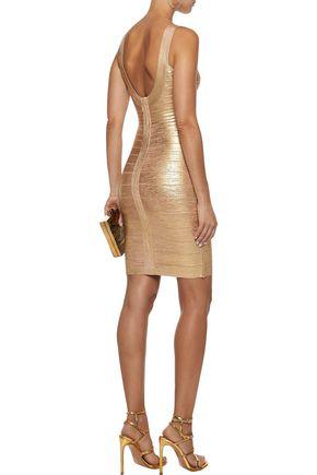 HERVÉ LÉGER Catherine metallic coated bandage mini dress