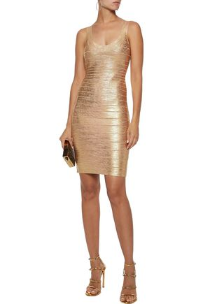 57e70505f439 HERVÉ LÉGER Catherine metallic coated bandage mini dress