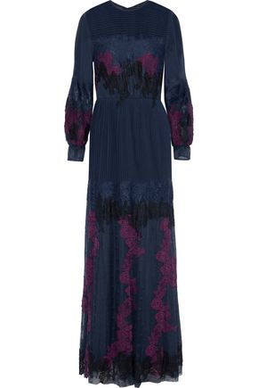 MIKAEL AGHAL Lace-paneled pintucked chiffon and embroidered tulle gown