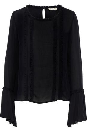 L'AGENCE Gilda ruffle-trimmed silk-chiffon top