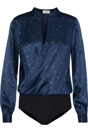 L'AGENCE Marcella wrap-effect printed silk-satin bodysuit