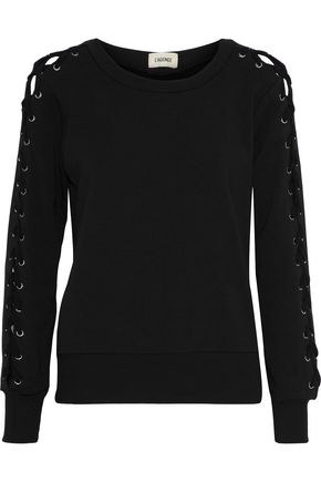 L'AGENCE Mirana lace-up fleece sweatshirt